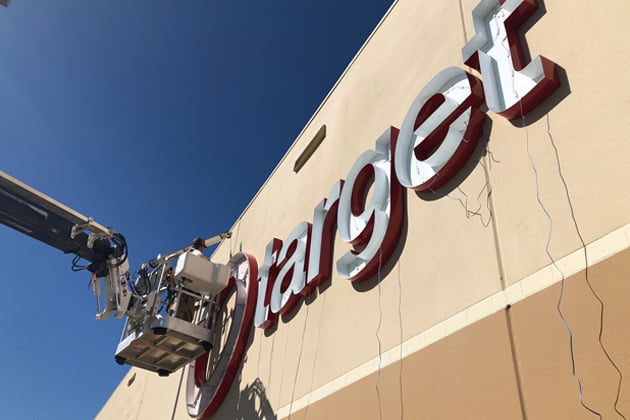 Sign being installed at the Redding, CA Target